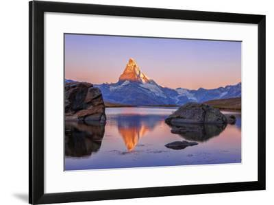 Pink Sky at Sunrise on the Matterhorn Reflected in Stellisee-Roberto Moiola-Framed Photographic Print