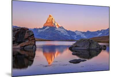 Pink Sky at Sunrise on the Matterhorn Reflected in Stellisee-Roberto Moiola-Mounted Photographic Print