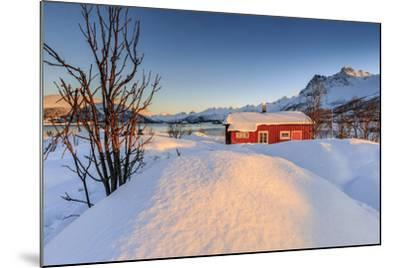 The Winter Sun Illuminates a Typical Norwegian Red House Surrounded by Fresh Snow-Roberto Moiola-Mounted Photographic Print