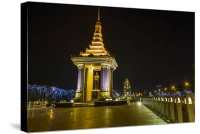 Night Photograph of the Statue of Norodom Sihanouk, Phnom Penh, Cambodia, Indochina-Michael Nolan-Stretched Canvas Print