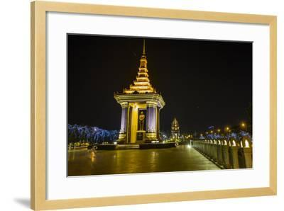 Night Photograph of the Statue of Norodom Sihanouk, Phnom Penh, Cambodia, Indochina-Michael Nolan-Framed Photographic Print