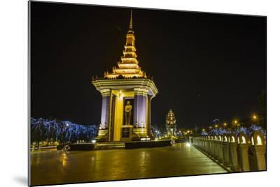 Night Photograph of the Statue of Norodom Sihanouk, Phnom Penh, Cambodia, Indochina-Michael Nolan-Mounted Photographic Print