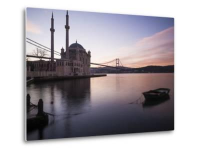 Exterior of Ortakoy Mosque and Bosphorus Bridge at Dawn, Ortakoy, Istanbul, Turkey-Ben Pipe-Metal Print