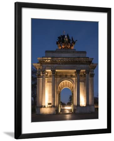 Exterior of Wellington Arch at Night, Hyde Park Corner, London, England, United Kingdom, Europe-Ben Pipe-Framed Photographic Print