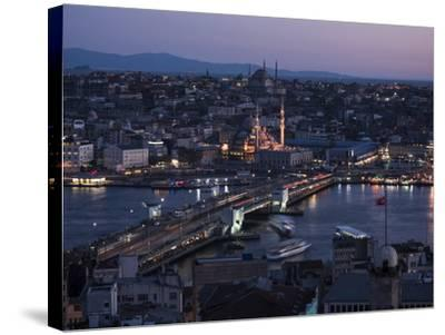 View over Istanbul Skyline from the Galata Tower at Night, Beyoglu, Istanbul, Turkey-Ben Pipe-Stretched Canvas Print
