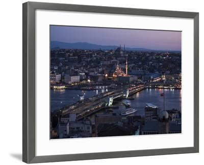View over Istanbul Skyline from the Galata Tower at Night, Beyoglu, Istanbul, Turkey-Ben Pipe-Framed Photographic Print