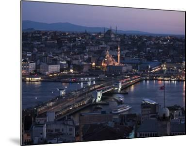 View over Istanbul Skyline from the Galata Tower at Night, Beyoglu, Istanbul, Turkey-Ben Pipe-Mounted Photographic Print