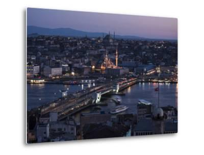 View over Istanbul Skyline from the Galata Tower at Night, Beyoglu, Istanbul, Turkey-Ben Pipe-Metal Print