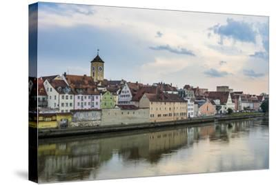 Danube River and Skyline of Regensburg, Bavaria, Germany-Michael Runkel-Stretched Canvas Print
