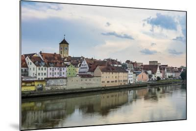 Danube River and Skyline of Regensburg, Bavaria, Germany-Michael Runkel-Mounted Photographic Print