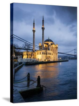 Exterior of Ortakoy Mosque and Bosphorus Bridge at Night, Ortakoy, Istanbul, Turkey-Ben Pipe-Stretched Canvas Print