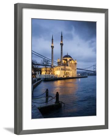Exterior of Ortakoy Mosque and Bosphorus Bridge at Night, Ortakoy, Istanbul, Turkey-Ben Pipe-Framed Photographic Print