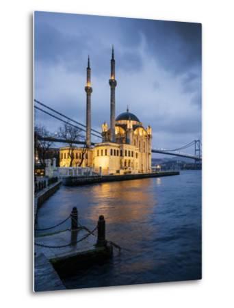 Exterior of Ortakoy Mosque and Bosphorus Bridge at Night, Ortakoy, Istanbul, Turkey-Ben Pipe-Metal Print
