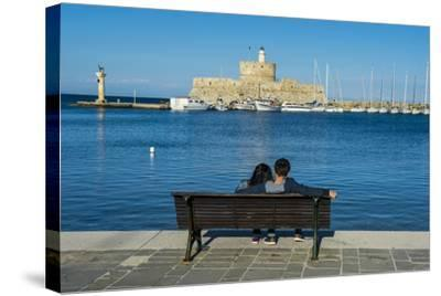 The Old Agios Nikolaos Fortress and Lighthouse in Mandraki Harbour-Michael Runkel-Stretched Canvas Print