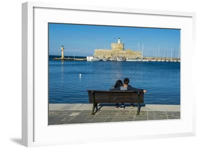 The Old Agios Nikolaos Fortress and Lighthouse in Mandraki Harbour-Michael Runkel-Framed Photographic Print