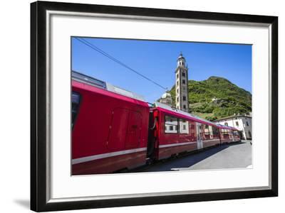 The Bernina Express Train Passes Near the Sanctuary of Madonna Di Tirano, Lombardy, Italy-Roberto Moiola-Framed Photographic Print