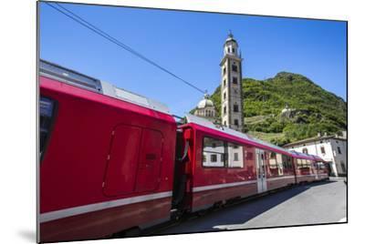 The Bernina Express Train Passes Near the Sanctuary of Madonna Di Tirano, Lombardy, Italy-Roberto Moiola-Mounted Photographic Print
