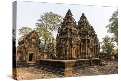 Ornate Carvings in Red Sandstone at Banteay Srei Temple in Angkor, Siem Reap, Cambodia-Michael Nolan-Stretched Canvas Print