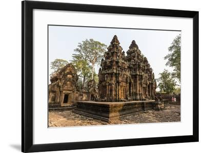 Ornate Carvings in Red Sandstone at Banteay Srei Temple in Angkor, Siem Reap, Cambodia-Michael Nolan-Framed Photographic Print