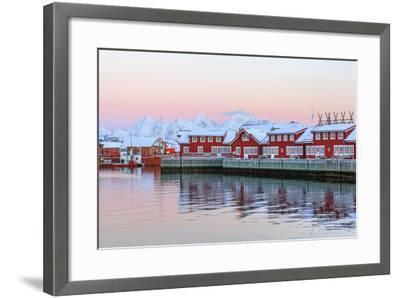 Pink Sunset over the Typical Red Houses Reflected in the Sea-Roberto Moiola-Framed Photographic Print