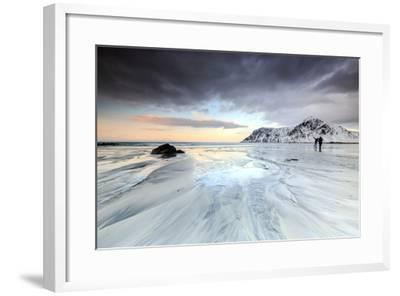 Sunset and Hikers on Skagsanden Beach Surrounded by Snow Covered Mountains-Roberto Moiola-Framed Photographic Print