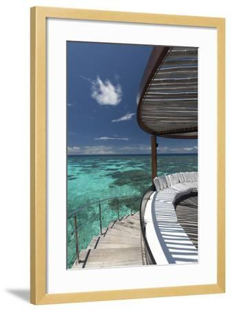 Stairs to the Beach and Sofa Overlooking the Ocean, Maldives, Indian Ocean-Sakis Papadopoulos-Framed Photographic Print