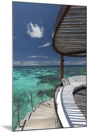 Stairs to the Beach and Sofa Overlooking the Ocean, Maldives, Indian Ocean-Sakis Papadopoulos-Mounted Photographic Print