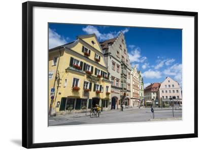 Old Trader Houses on Arnulfsplatz, a Square in Regensburg, Bavaria, Germany-Michael Runkel-Framed Photographic Print