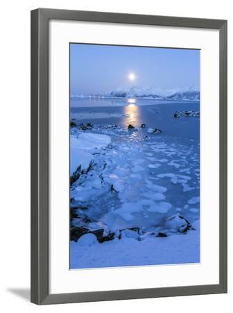 Reflections of Full Moon in the Frozen Sea, Lyngedal, Lofoten Islands, Arctic, Norway, Scandinavia-Roberto Moiola-Framed Photographic Print