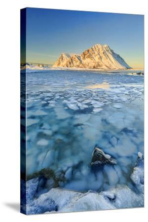 Views of the Mountains of Gymsoya (Gimsoya) from Smorten Reflected in the Clear Sea-Roberto Moiola-Stretched Canvas Print