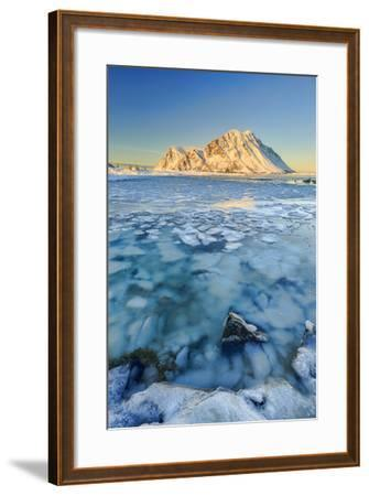 Views of the Mountains of Gymsoya (Gimsoya) from Smorten Reflected in the Clear Sea-Roberto Moiola-Framed Photographic Print