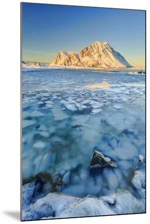 Views of the Mountains of Gymsoya (Gimsoya) from Smorten Reflected in the Clear Sea-Roberto Moiola-Mounted Photographic Print