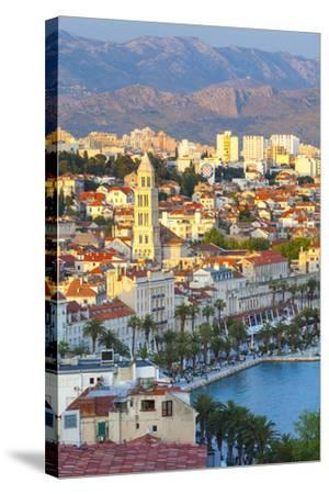 Elevated View over Split's Picturesque Stari Grad and Harbour Illuminated at Sunset-Doug Pearson-Stretched Canvas Print