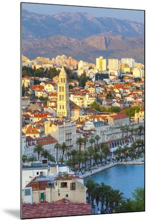 Elevated View over Split's Picturesque Stari Grad and Harbour Illuminated at Sunset-Doug Pearson-Mounted Photographic Print