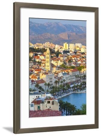Elevated View over Split's Picturesque Stari Grad and Harbour Illuminated at Sunset-Doug Pearson-Framed Photographic Print