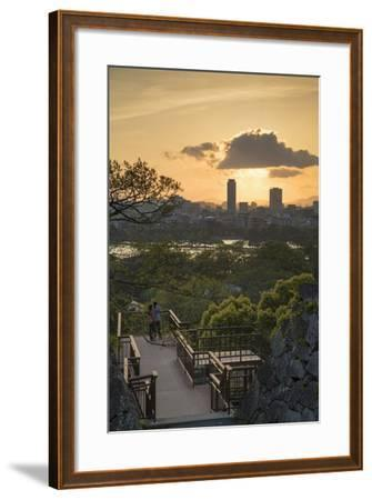 Couple at Fukuoka Castle Ruins at Sunset, Fukuoka, Kyushu, Japan-Ian Trower-Framed Photographic Print
