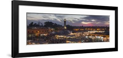Panoramic View of (Jemaa) Djemaa El Fna Square and Koutoubia Mosque-Stephen Studd-Framed Photographic Print