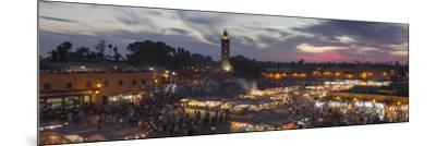 Panoramic View of (Jemaa) Djemaa El Fna Square and Koutoubia Mosque-Stephen Studd-Mounted Photographic Print