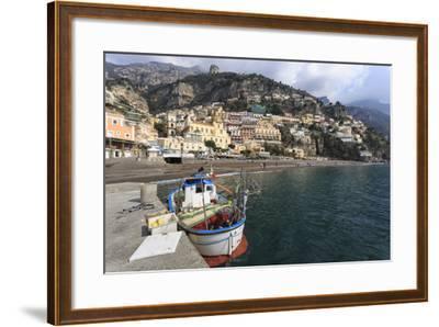 Fishing Boat at Quayside and Positano Town, Costiera Amalfitana (Amalfi Coast), Campania, Italy-Eleanor Scriven-Framed Photographic Print