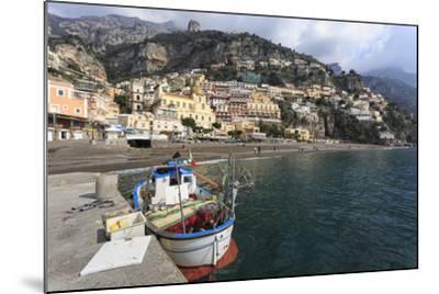 Fishing Boat at Quayside and Positano Town, Costiera Amalfitana (Amalfi Coast), Campania, Italy-Eleanor Scriven-Mounted Photographic Print