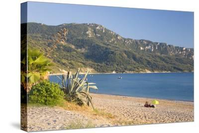 View across the Bay to Wooded Hillside-Ruth Tomlinson-Stretched Canvas Print