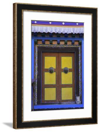 Door at the Buddhist Monastery in Tengboche in the Khumbu Region of Nepal, Asia-John Woodworth-Framed Photographic Print