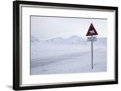 Beware of Polar Bear Traffic Sign on Ice Road-Stephen Studd-Framed Photographic Print