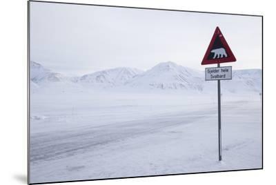 Beware of Polar Bear Traffic Sign on Ice Road-Stephen Studd-Mounted Photographic Print