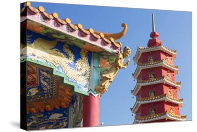 Pagoda at Ten Thousand Buddhas Monastery, Shatin, New Territories, Hong Kong, China, Asia-Ian Trower-Stretched Canvas Print