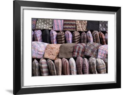 Traditional Nepalese Hats on Sale on a Market Stall in Kathmandu, Nepal, Asia-John Woodworth-Framed Photographic Print