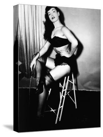 Bettie Page, American Model and Pin Up, C. 1955--Stretched Canvas Print