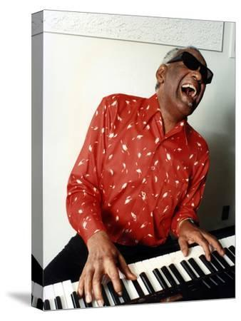 Ray Charles at Home in Los Angeles in February 1990--Stretched Canvas Print