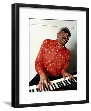 Ray Charles at Home in Los Angeles in February 1990--Framed Photo