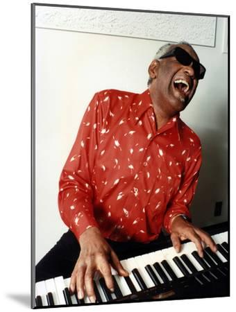 Ray Charles at Home in Los Angeles in February 1990--Mounted Photo